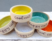 Cat Bowl, Ceramic Cat Bowl, Pet Bowl, Personalized Cat Bowl, Cat Bowl Set, Cat Dish, Pet Dish, Small Pet Bowl, Pottery Bowl, j clay pottery