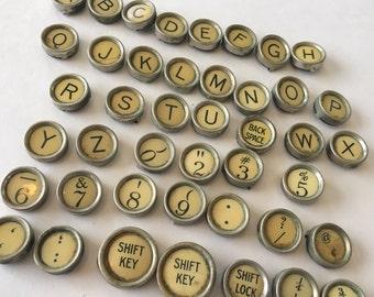 Your Choice Vintage Antique Typewriter Keys Jewelry Supplies Flat Backs Remington Typewriter Yellow Cream
