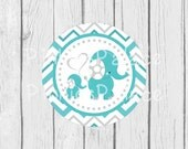 Elephant Stickers Envelope Seals Momma Elephant Baby Elephant Favor Birthday Party Sticker Baby Shower Sticker Turquoise Chevron SES332