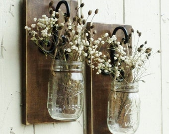 NEW...Rustic Farmhouse... Wood Wall Decor... 2 Individual Hanging Mason Jars... Candle Sconce...Made to Order