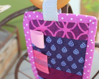 Quilted Teether: purple, pink, luna moths