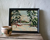 1950s Landscape Painting Paint By Numbers Winter Scene Number SALE