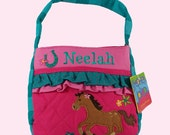 Personalized Stephen Joseph Quilted GIRL HORSE Themed Purse-Monogramming Included In Price