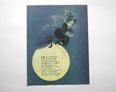 Halloween Decorations Witch Art Book Page Art Nursery Rhymes Vintage Halloween Decor Witch Print