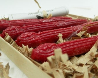 Natural Sealing Wax 4 sticks Classic Red color with wick Traditional mold - for stamps