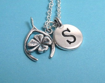 Wishbone with Clover Charm, Wishbone Necklace, Good Luck Keychain, Silver Plated Charm, Initial, Personalized, Monogram