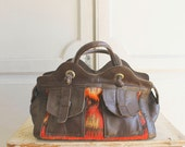 vintage kilim leather carpet bag