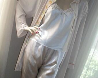 Vintage 1930s Style Lounging Pajamas 3 Piece Set Size M