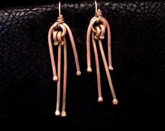 Post Apocalyptic Earrings, Brass earrings, Brass jewelry, Wire wrapped earrings, Recycled jewelry, unique earrings