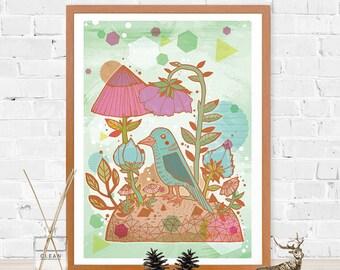 The Blue Bird Fine Art Print - Nature - Illustrated Bird Artwork - Wall Art - Home - Gift for Bird Lovers - A4 A3 Print