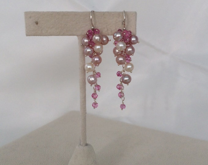 Freshwater Pearl Cluster Earrings in Sterling Silver with Mystic Pink Topaz