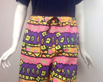 VTG 90s Neon Floral Shorts Men's Large Beach Surf Skateboarding