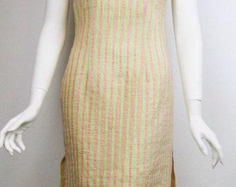 VTG Neon Cheongsam Stripe Sheer Chinese Asian Dress