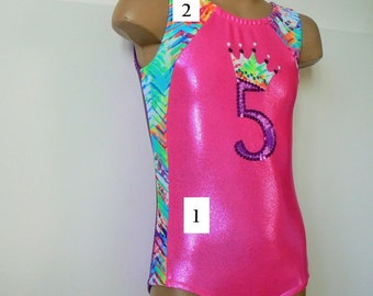 Gymnastic/Dance Leotard Hot Pink Purple with Crown Applique CHOOSE YOUR COLORS Size 2T - Girls 12