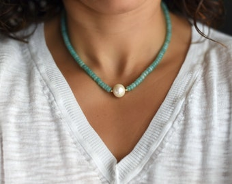 Single Freshwater Pearl Necklace/ Real Pearl Necklace/ Amazonite Necklace/Pearl Gemstone Necklace/ Simple Pearl Necklace/Pearl Choker