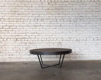 Round Dark Oak Steel Coffee Table