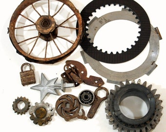 Vintage Metal Industrial Salvage, Rusty Vintage Junk Machine Parts, Automotive Parts