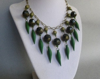 Deep Emerald Green Vintage Bead and Polymer Clay Spike Statement Necklace // Bronze // Elegant // Edgy