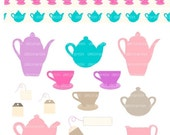 ON SALE clip art,INSTANT Download,Digital clip art tea set,Tea passion 2 , Teapot clipart, Tea cup, tea set