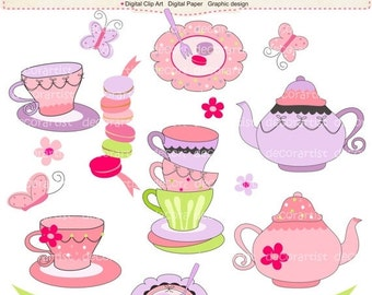 ON SALE French tea party digital clip art , tea party , french style, paris. INSTANT Download