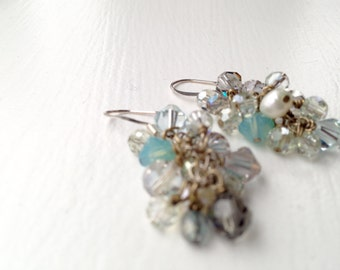 Silver gray ocean blue swarovski pearl earrings