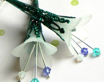 Lucite Trumpet Flower Earrings - White,teal and purple - Teal Filigree Cone