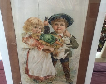 """1897 Victorian lithograph """"jolly good freinds"""" by ketterlinus"""