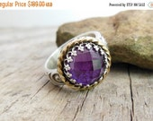 Clearance Rose Cut Amethyst Ring - Sterling Silver Gemstone Ring - Purple Birthstone Ring - Cocktail Ring For Women - Ring Size 5.75