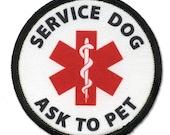 SERVICE DOG Ask To Pet Medical Alert Symbol Black Rim Sew-on Patch (Choose Size)