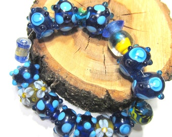 17 Lampwork glass beads turquoise royal blue sky blue 2 destash lot beads SB1