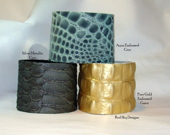 Pack of 4 Leather Supply Cuffs - Embossed Leather - Glitz Leather -  Leather Bracelets -  Leather Jewelry Designs - Jewelry Supply- Cuffs