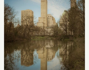 SALE - Ships Aug 27 - New York Photograph Central Park Photo nyc Photography Lake Beige Brown Manhattan Neutral Colors nyc61