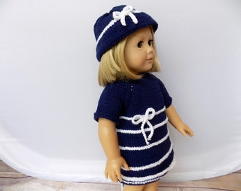 Knit Doll Outfit, Girl Doll Clothes, Doll Dress and Hat Set