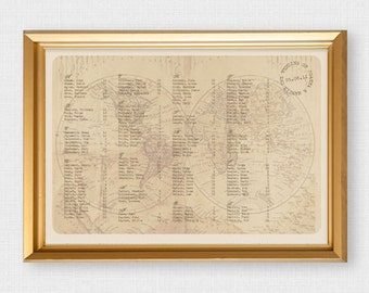 antique travel world map wedding seating chart -  diy printable file - seating plan, destination wedding decor, reception decor, vintage