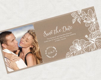 photo save the date boarding pass ticket - printable diy - aloha, destination wedding announcement hibiscus flower beach Hawaiian resort sea