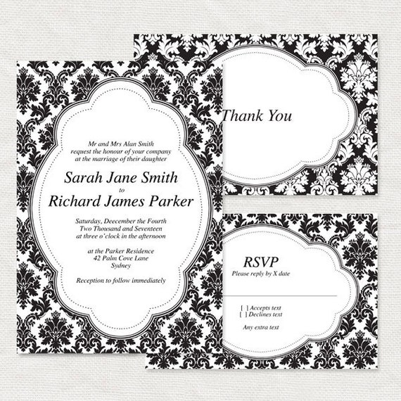 diy wedding invitation template - classic damask printable invitation suite - traditional black and white pattern ornate elegant rsvp demask
