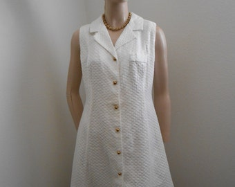 White Cotton Sleeveless Summer A-Line Dress, Size M-L
