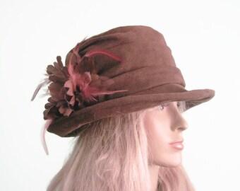 Brown Cloche Hat Formal Hat Tea Hat Kentucky Derby Hat