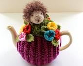 Roddy the Hedgehog in the Garden Tea Cosy in pure merino wool - by Tafferty Designs - Size Medium