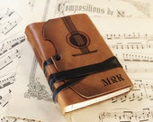 The Violin - leather journal with vintage style paper in orange brown