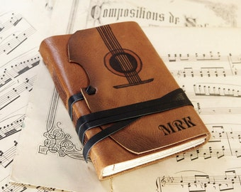 The Violin - leather journal with vintage style paper in orange brown, customizable with monogram and text