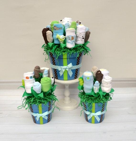layette flower centerpieces baby shower centerpieces boy baby shower