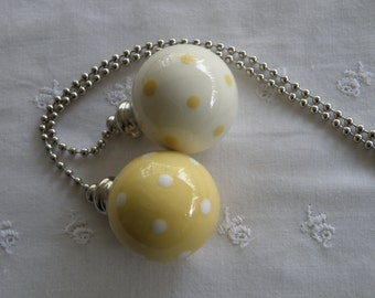 Yellow Polka Dots - Set of 2 - Pottery Ball Ceiling Fan Pulls - Handmade in the USA - Nickel or Brass Hardware