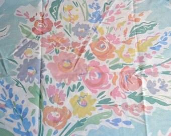 Vintage Pillowcase - Pastel Flower Bouquets on Mint Green - Standard Size