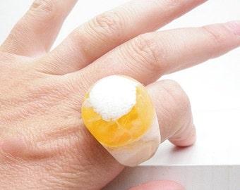 SALE Sz 8.25 Orange Mango Resin Ring