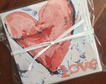 "Folded ""love"" heart notecard set"