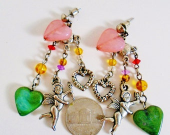 Vintage Fairy tale Fantasy Angels Hearts Arrow Rose Quartz Semi Precious Charms Pierced Earrings Chandelier Marbled Greenery Art Nouveau So