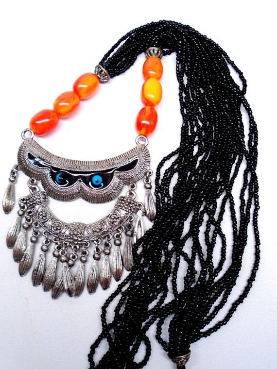 Brutalist Ornate Ethnic Orange Black Blue Eyes Good Luck 10 Strand Glass Beads Necklace Choker Collar Pendant Bib Waterfall  Boho Bib Retro