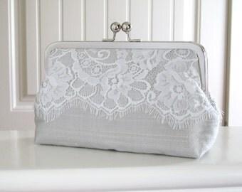Silk And Eyelash Lace Clutch,Ivory And Grey Mist Eyelash Lace Clutch,Bridal Accessories,Wedding Clutch, Bridesmaid Clutch