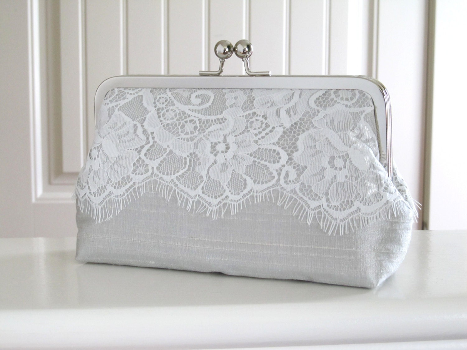 Silk And Eyelash Lace Clutch,Ivory And Grey Mist Eyelash Lace Clutch,Bridal Accessories,Wedding Clutch, Bridesmaid Clutch